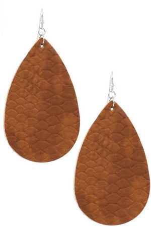 Leather Tear Drop Earrings (Brown)