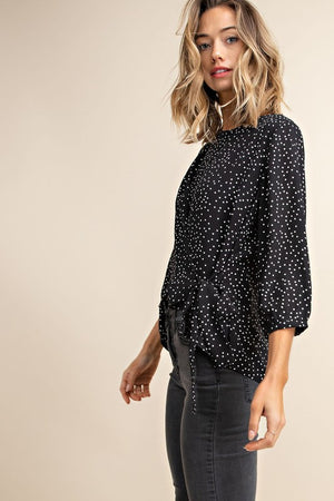 Dot Print Side Tie Blouse