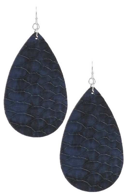 Leather Earrings (Navy)