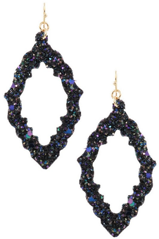 Glitter Teardrop Earrings (Navy)