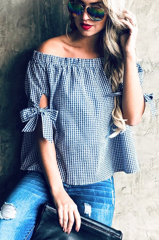 Plaid Print Bow Top