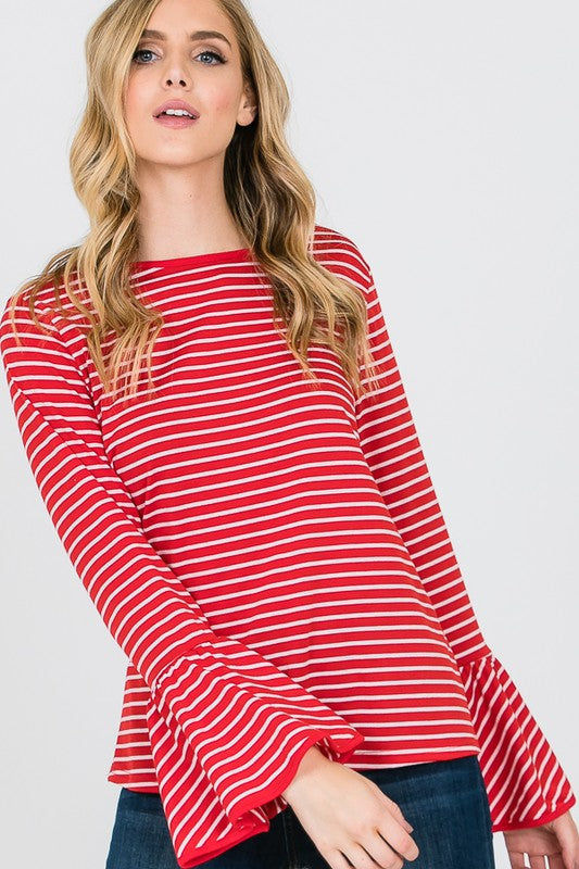 Bell Sleeve Striped Top (Red)