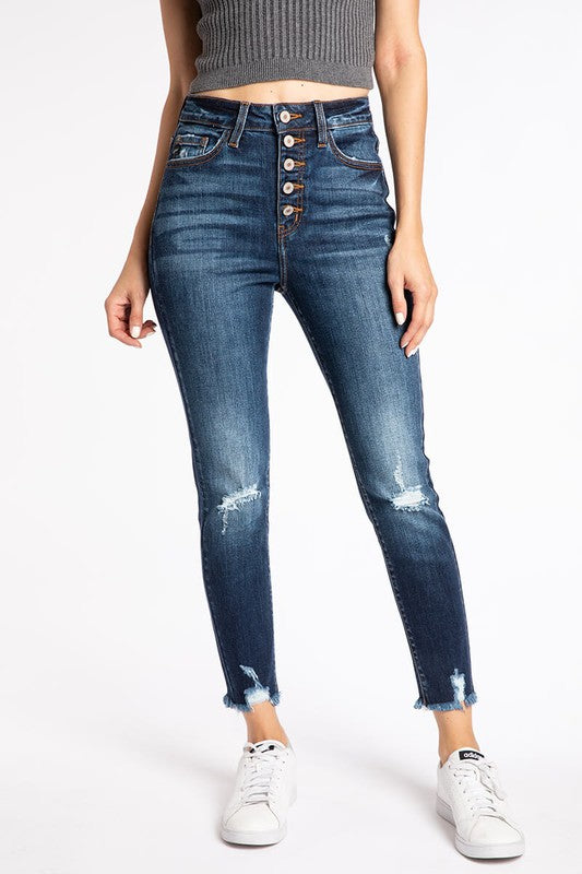 High Rise Button Fly Skinny Jeans