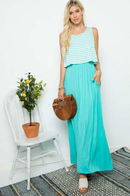 Sleeveless Striped Maxi (Aqua)