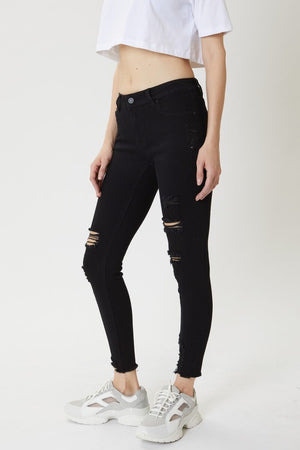 Mid Rise Black Distressed Skinny Jeans