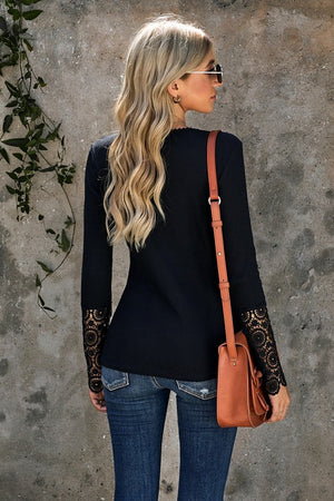 Crochet Lace Hem Sleeve Top