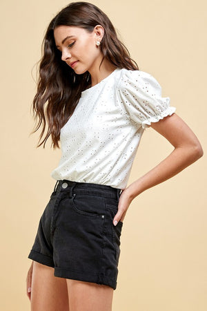 Eyelet Puff Sleeve Top (White)