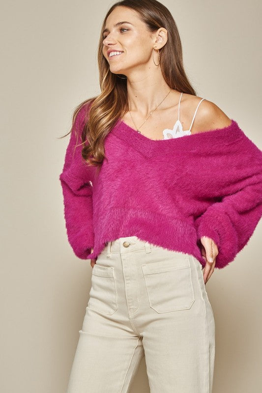 Cropped Fuzzy Sweater (Pink)
