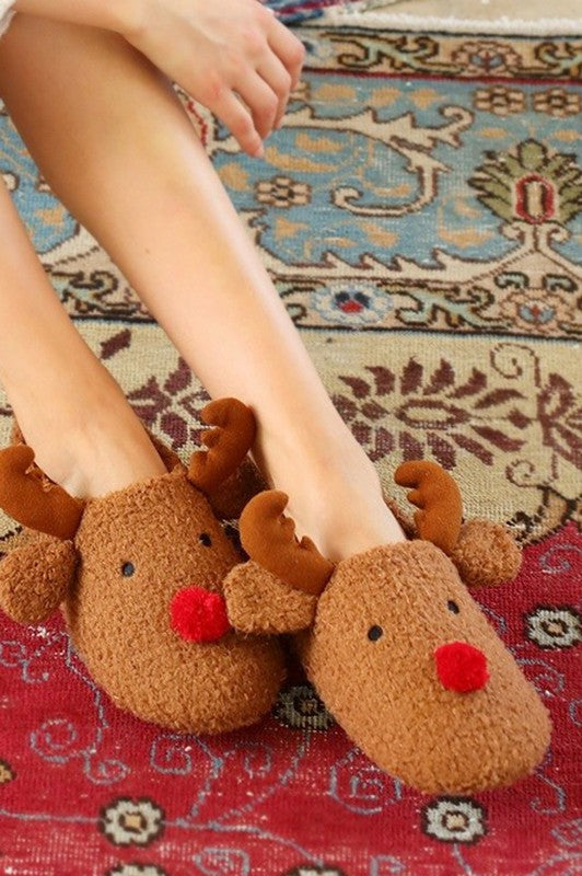 Red Nose Reindeer Slippers
