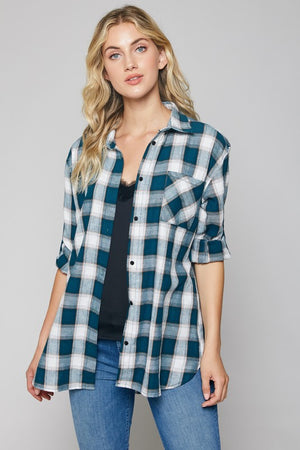 Plaid Button Up (Teal)