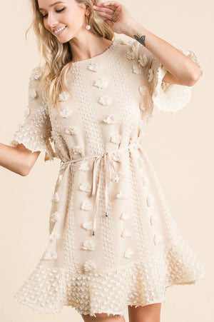 Textured Pom-Pom Dress (Tan)