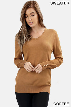 Button Sleeve Sweater (Coffee)