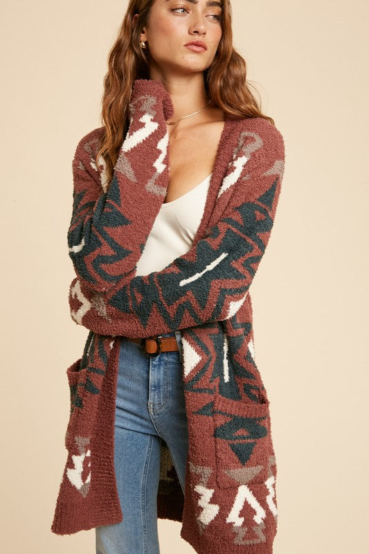 Tribal Western Terry Cardigan