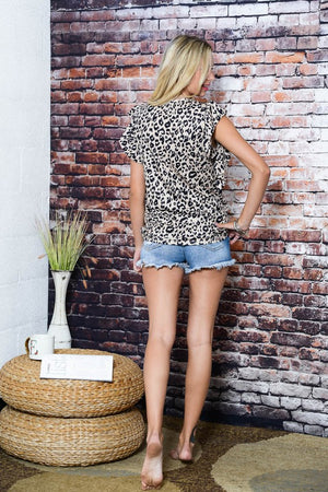 Leopard Cap Sleeve Top
