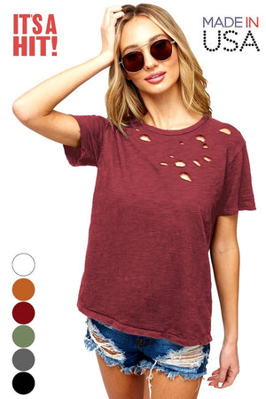 Short Sleeve Distressed Shirt (Merlot)