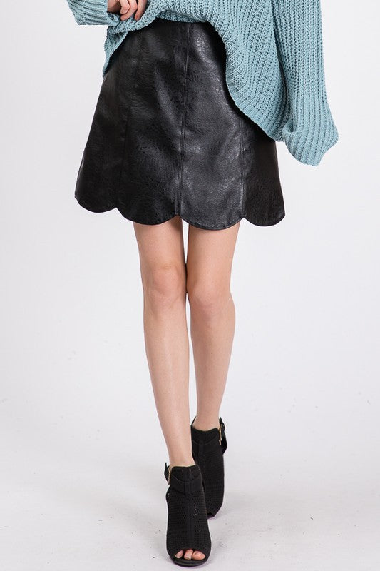 Scalloped Edge Faux Leather Skirt