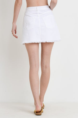 Frayed Hem Denim Skirt (White)