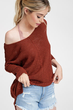 Fine Thread Soft Luxe Sweater (Brick Red)