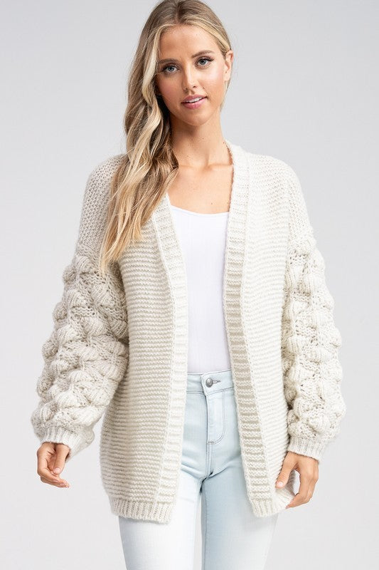 Ball Sleeve Crochet Cardigan (Ivory)