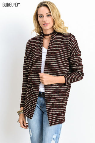 Striped Pocket Cardigan (Burgundy)