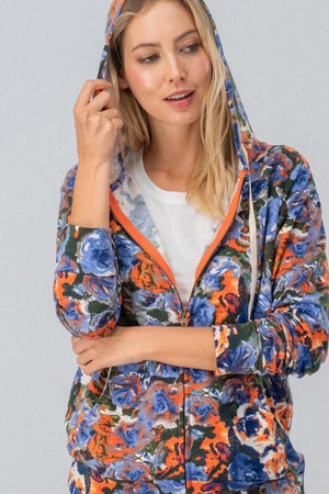 Floral Zip Hoodie (Blue/Orange)