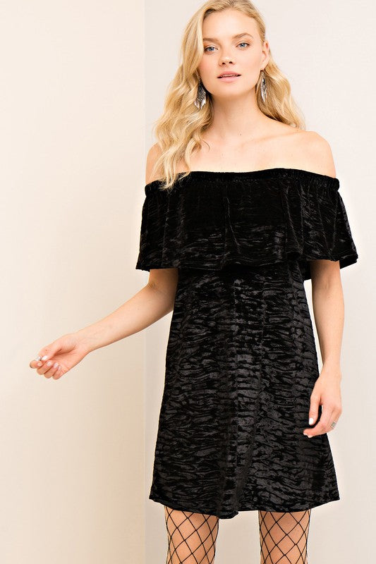 Off The Shoulder Velvet Dress (Black)