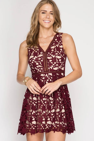 Lace Fit and Flare (Wine)