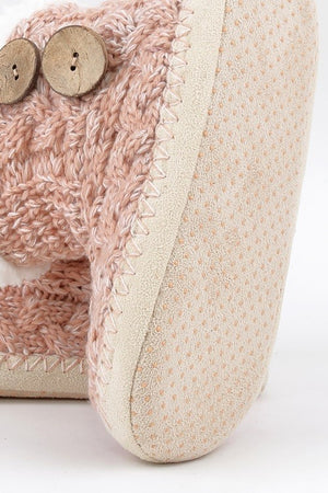 Button Knitted Slippers (Blush)