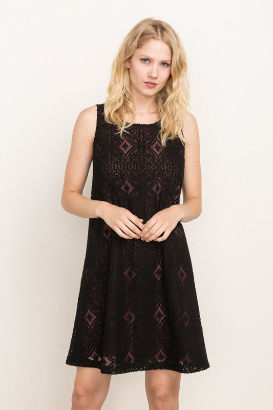 Lace Shift Dress with Underlay