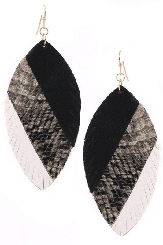 Leather Leaf Earrings (Shades of Grey)