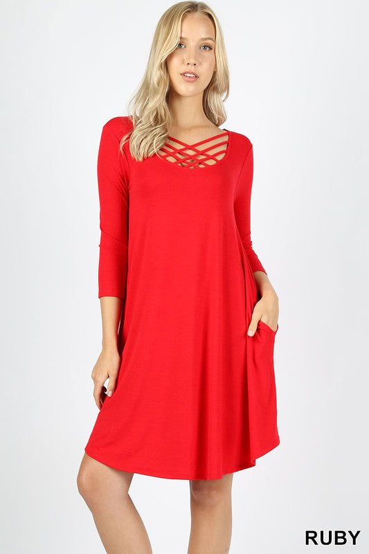 Tripple Lattice Dress (Ruby)
