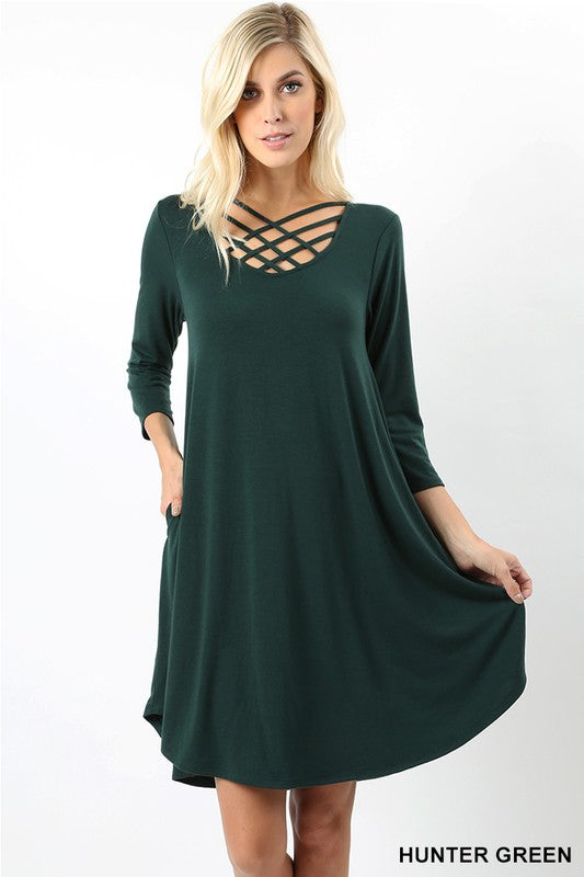 Tripple Lattice Dress (Hunter Green)