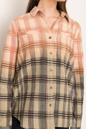 Ombre Button Up