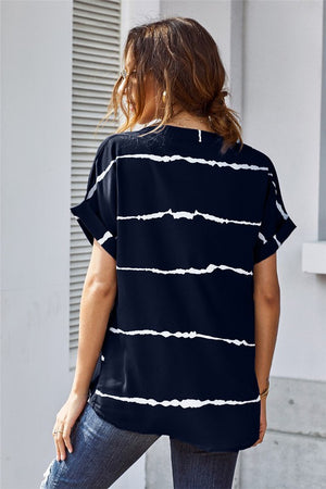 Striped Short Sleeve Top (Navy)