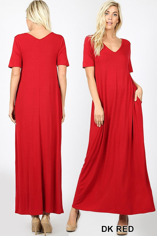 Short Sleeve Maxi with Pockets (Red)