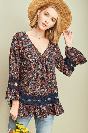 Floral Print - Lace Detail Top