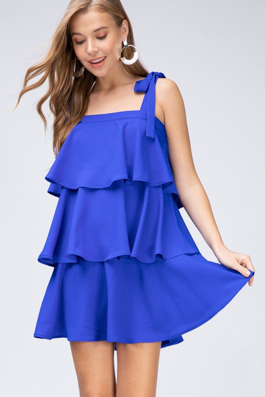 Tiered Ruffle Dress (Royal Blue)