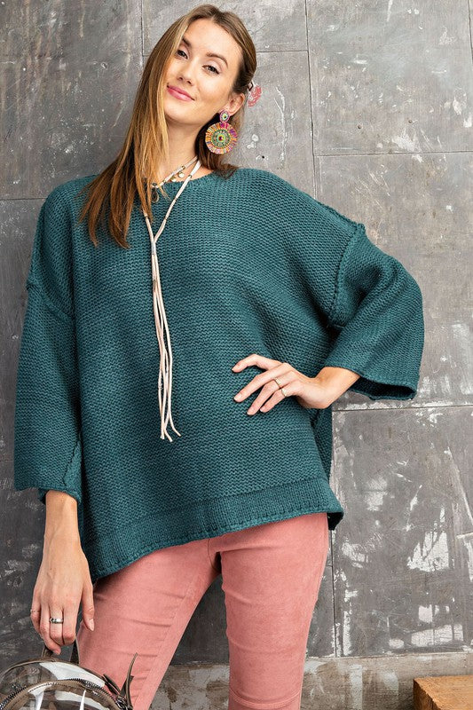 Chunky Oversized Knit Sweater (Teal)