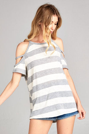 Striped Cold Shoulder Top (Grey/Ivory)