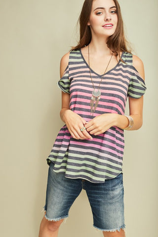 Multi Stripe Cold Shoulder (Purple)