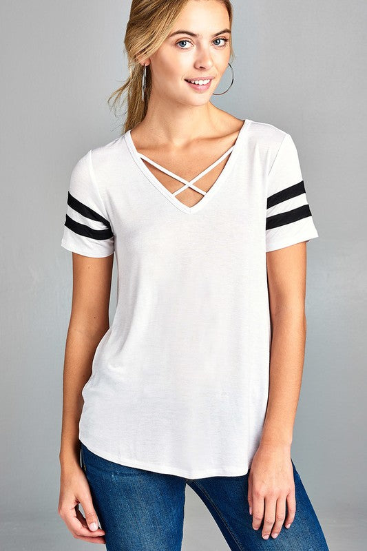 Varisty Stripe Criss-Cross Top (White)