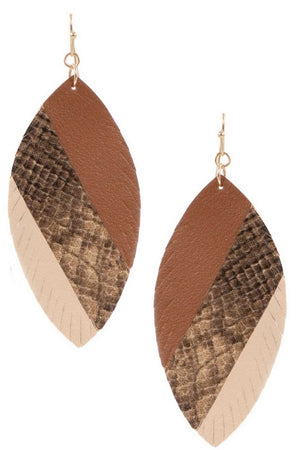 Leather Leaf Earrings (Shades of Brown)