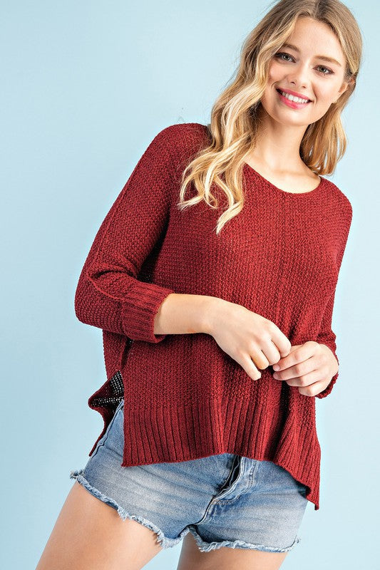 Fine Thread Soft Luxe Sweater (Wine)