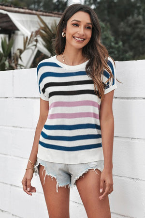 Crew Neck Striped Top
