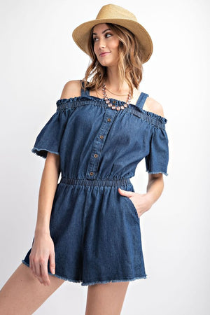 Distressed Hemline Romper