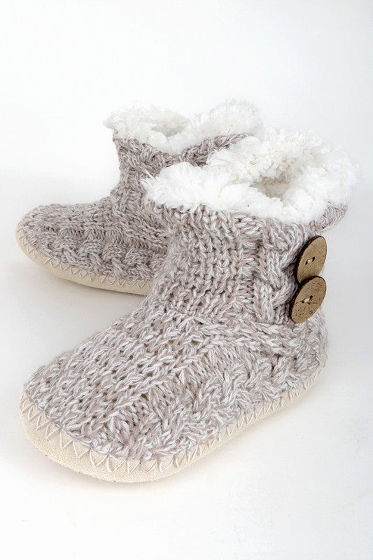 Button Knitted Slippers (Mauve)