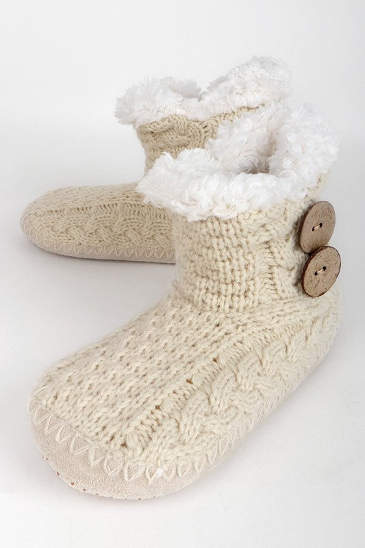 Button Knitted Slippers (Oatmeal)