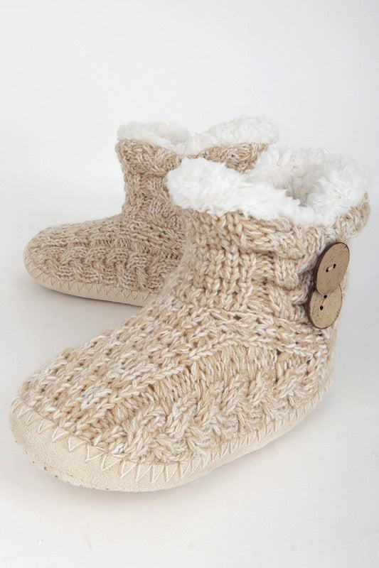 Button Knitted Slippers (Taupe)