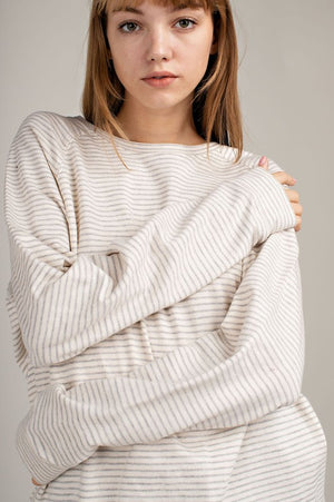 Pin Stripe Lace Up Sweater