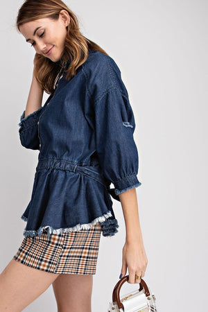 Dark Washed Peplum Denim Jacket